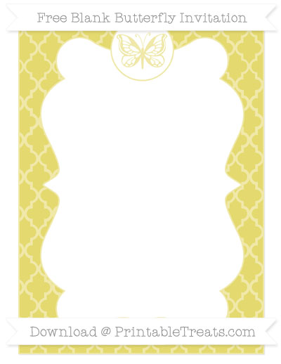 Free Straw Yellow Moroccan Tile Blank Butterfly Invitation