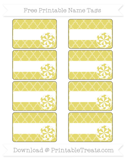 Free Straw Yellow Moroccan Tile Cheer Pom Pom Tags