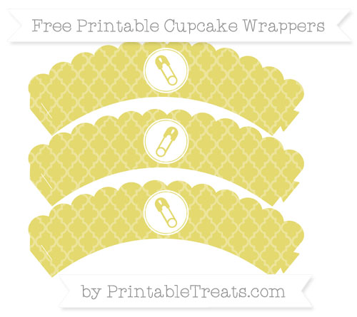 Free Straw Yellow Moroccan Tile Diaper Pin Scalloped Cupcake Wrappers