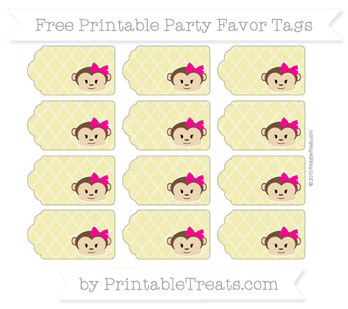 Free Straw Yellow Moroccan Tile Girl Monkey Party Favor Tags