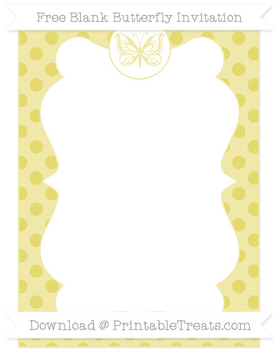 Free Straw Yellow Polka Dot Blank Butterfly Invitation