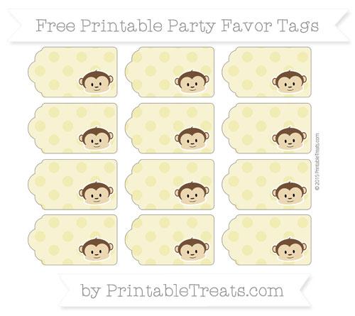 Free Straw Yellow Polka Dot Boy Monkey Party Favor Tags