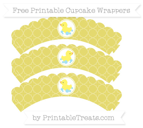Free Straw Yellow Quatrefoil Pattern Baby Duck Scalloped Cupcake Wrappers