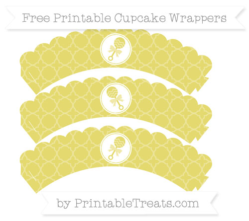 Free Straw Yellow Quatrefoil Pattern Baby Rattle Scalloped Cupcake Wrappers