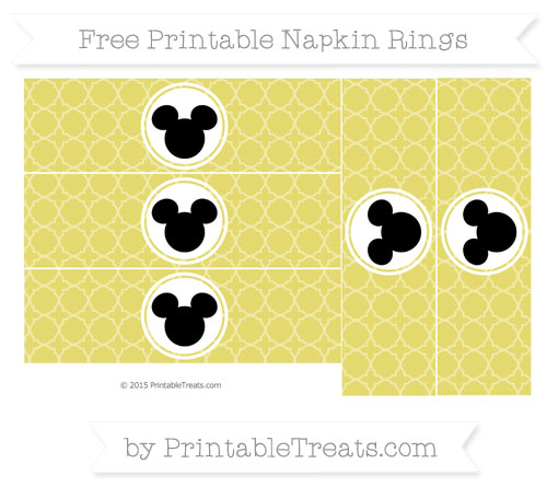 Free Straw Yellow Quatrefoil Pattern Mickey Mouse Napkin Rings