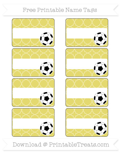 Free Straw Yellow Quatrefoil Pattern Soccer Name Tags