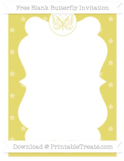 Free Straw Yellow Star Pattern Blank Butterfly Invitation