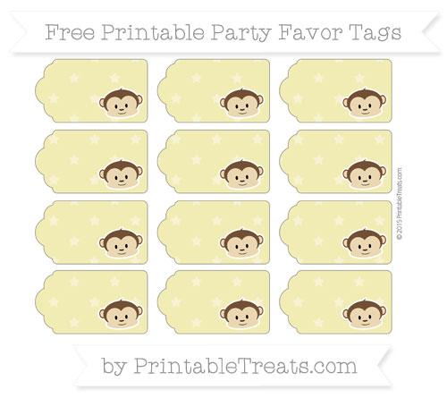 Free Straw Yellow Star Pattern Boy Monkey Party Favor Tags