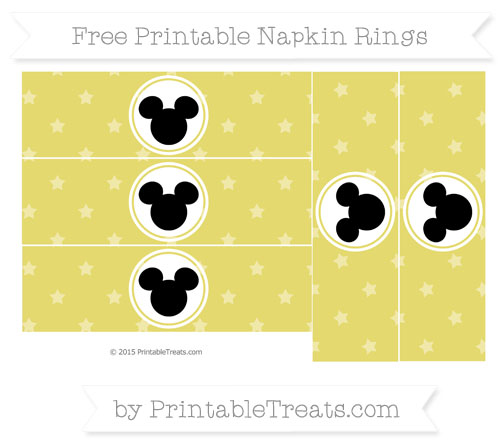 Free Straw Yellow Star Pattern Mickey Mouse Napkin Rings