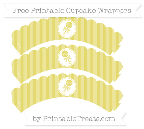 Free Straw Yellow Striped Baby Rattle Scalloped Cupcake Wrappers