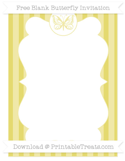 Free Straw Yellow Striped Blank Butterfly Invitation