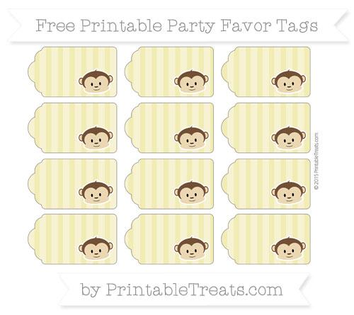 Free Straw Yellow Striped Boy Monkey Party Favor Tags