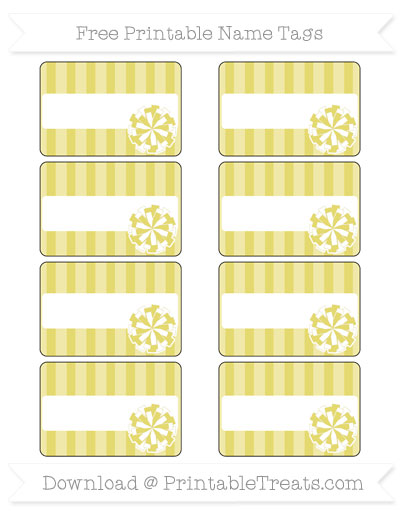 Free Straw Yellow Striped Cheer Pom Pom Tags