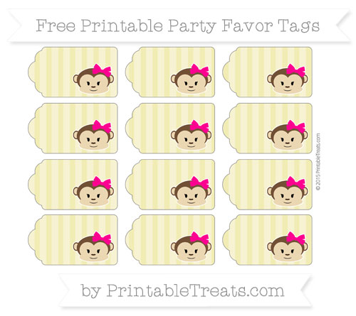 Free Straw Yellow Striped Girl Monkey Party Favor Tags