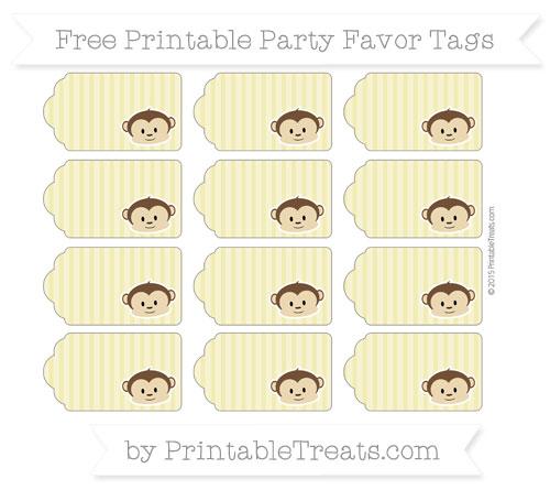 Free Straw Yellow Thin Striped Pattern Boy Monkey Party Favor Tags