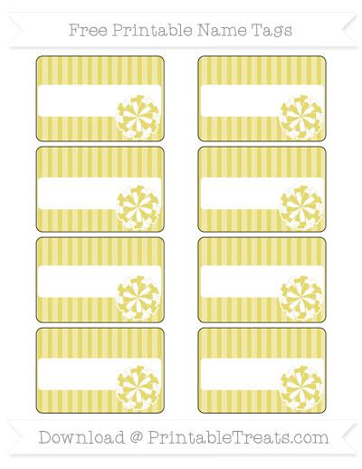 Free Straw Yellow Thin Striped Pattern Cheer Pom Pom Tags