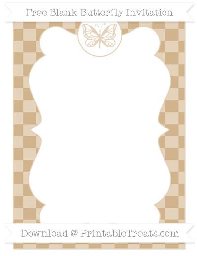 Free Tan Checker Pattern Blank Butterfly Invitation