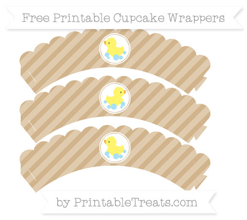 Free Tan Diagonal Striped Baby Duck Scalloped Cupcake Wrappers