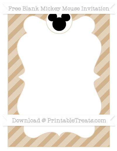 Free Tan Diagonal Striped Blank Mickey Mouse Invitation