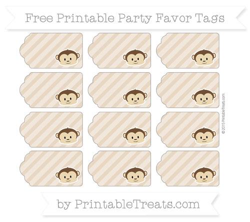 Free Tan Diagonal Striped Boy Monkey Party Favor Tags