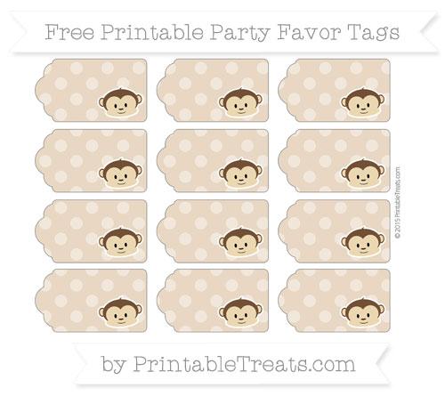 Free Tan Dotted Pattern Boy Monkey Party Favor Tags