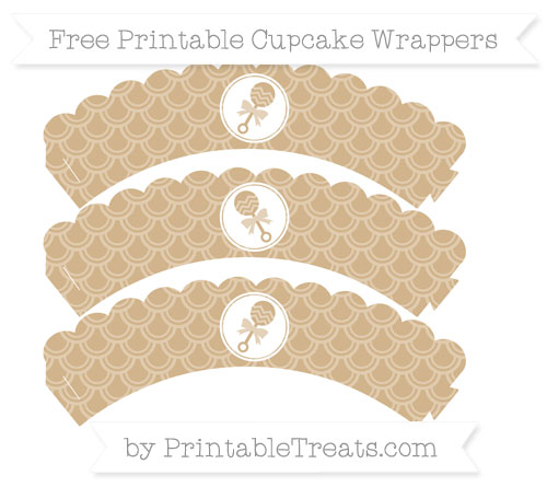 Free Tan Fish Scale Pattern Baby Rattle Scalloped Cupcake Wrappers