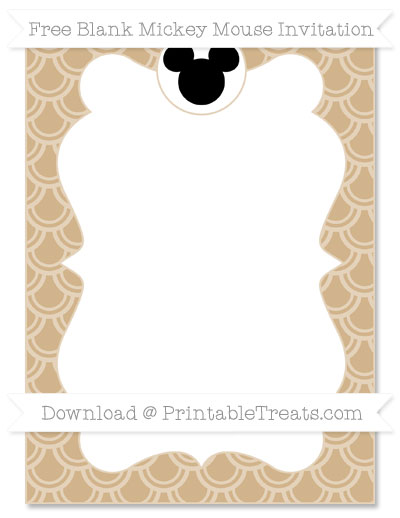 Free Tan Fish Scale Pattern Blank Mickey Mouse Invitation