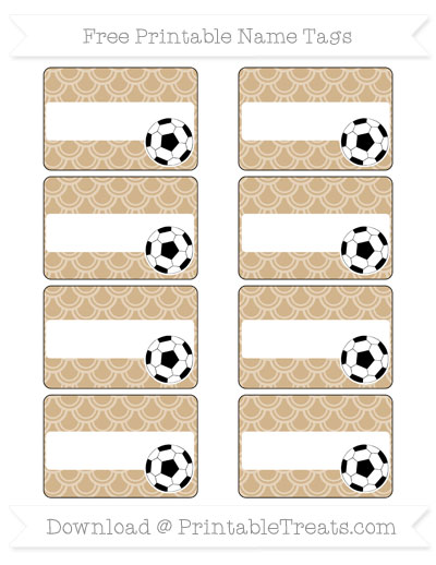 Free Tan Fish Scale Pattern Soccer Name Tags