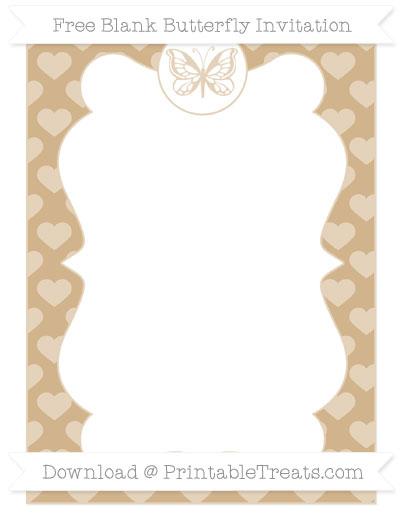 Free Tan Heart Pattern Blank Butterfly Invitation