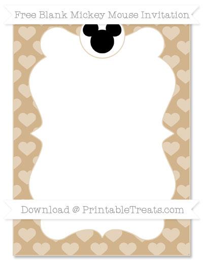 Free Tan Heart Pattern Blank Mickey Mouse Invitation
