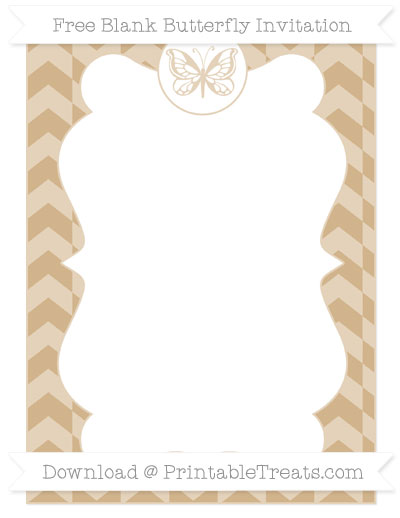 Free Tan Herringbone Pattern Blank Butterfly Invitation
