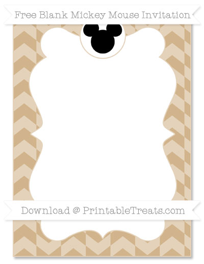 Free Tan Herringbone Pattern Blank Mickey Mouse Invitation