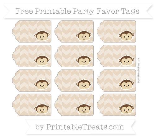 Free Tan Herringbone Pattern Boy Monkey Party Favor Tags