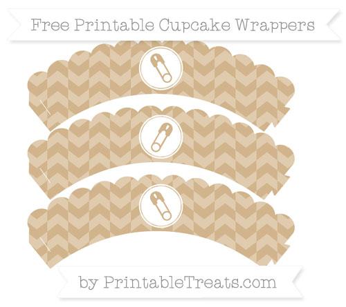 Free Tan Herringbone Pattern Diaper Pin Scalloped Cupcake Wrappers