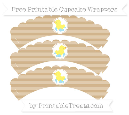 Free Tan Horizontal Striped Baby Duck Scalloped Cupcake Wrappers
