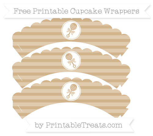 Free Tan Horizontal Striped Baby Rattle Scalloped Cupcake Wrappers
