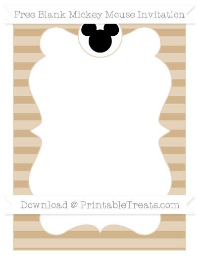 Free Tan Horizontal Striped Blank Mickey Mouse Invitation