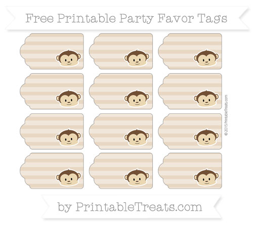 Free Tan Horizontal Striped Boy Monkey Party Favor Tags
