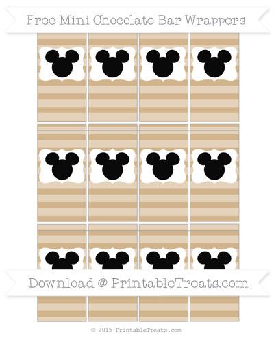 Free Tan Horizontal Striped Mickey Mouse Mini Chocolate Bar Wrappers