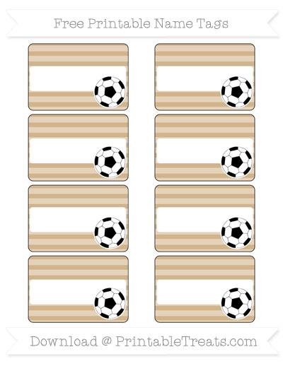 Free Tan Horizontal Striped Soccer Name Tags