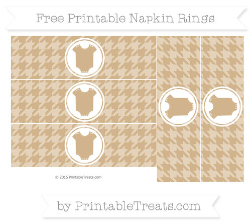 Free Tan Houndstooth Pattern Baby Onesie Napkin Rings