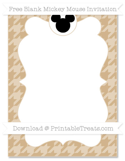 Free Tan Houndstooth Pattern Blank Mickey Mouse Invitation