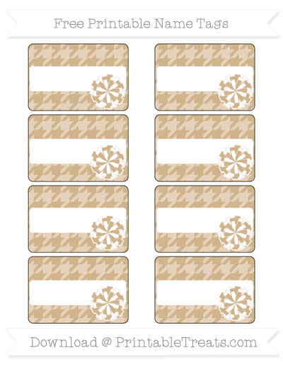 Free Tan Houndstooth Pattern Cheer Pom Pom Tags