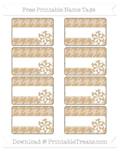Free Tan Houndstooth Pattern Cheer Pom Pom Tags