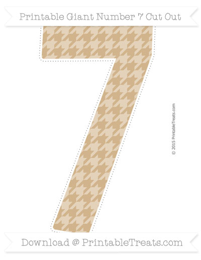 Free Tan Houndstooth Pattern Giant Number 7 Cut Out