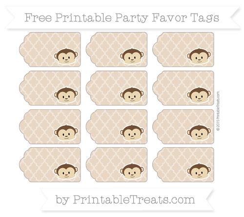 Free Tan Moroccan Tile Boy Monkey Party Favor Tags