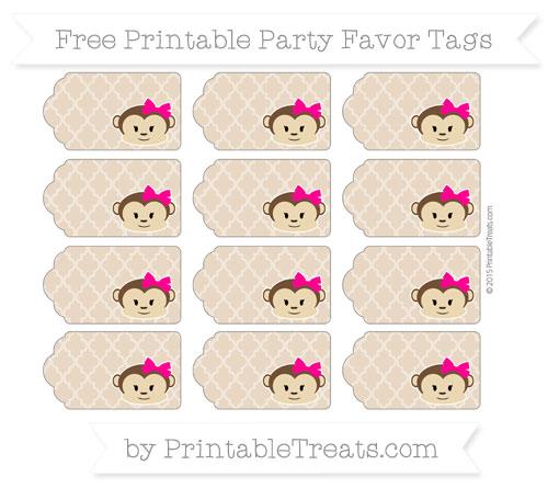 Free Tan Moroccan Tile Girl Monkey Party Favor Tags