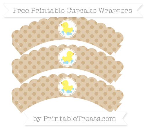 Free Tan Polka Dot Baby Duck Scalloped Cupcake Wrappers