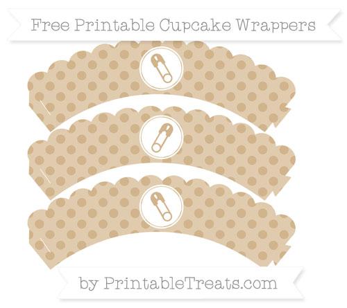 Free Tan Polka Dot Diaper Pin Scalloped Cupcake Wrappers