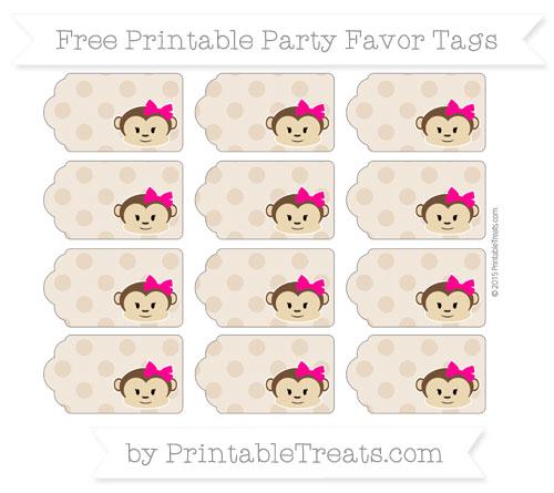 Free Tan Polka Dot Girl Monkey Party Favor Tags